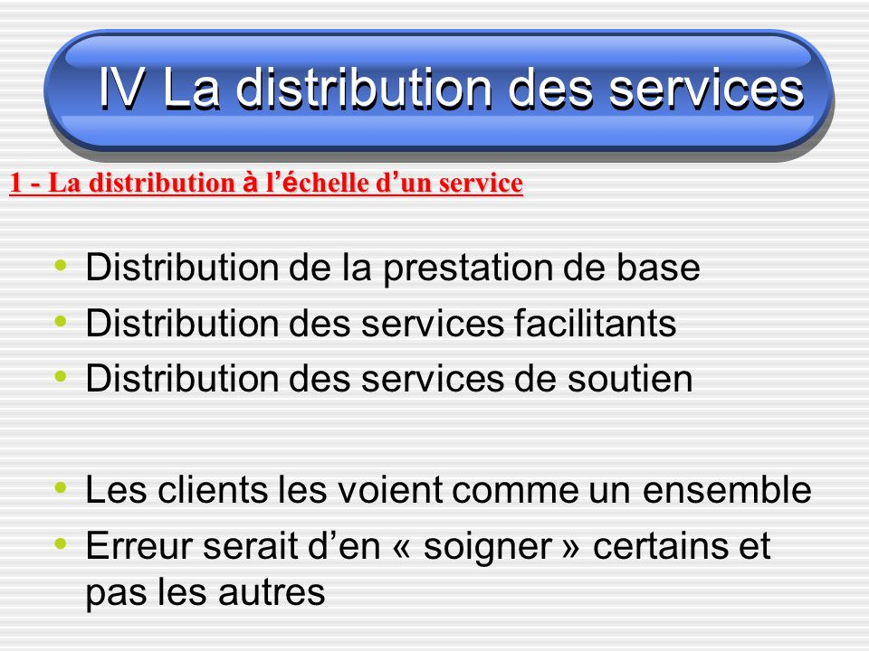 IV La distribution des services