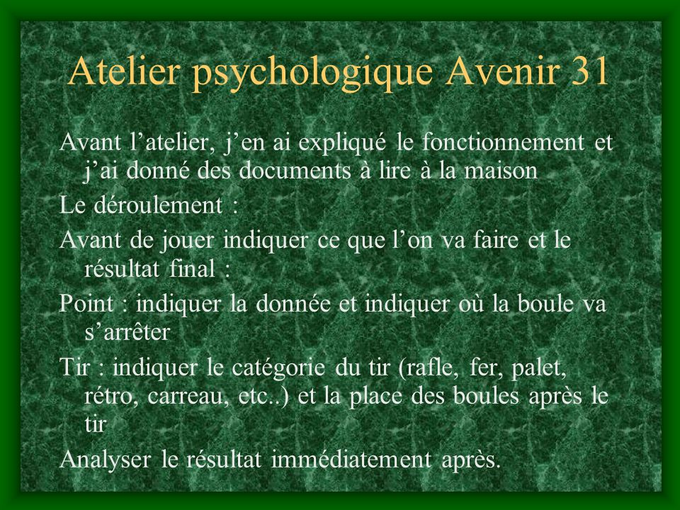 Atelier psychologique Avenir 31