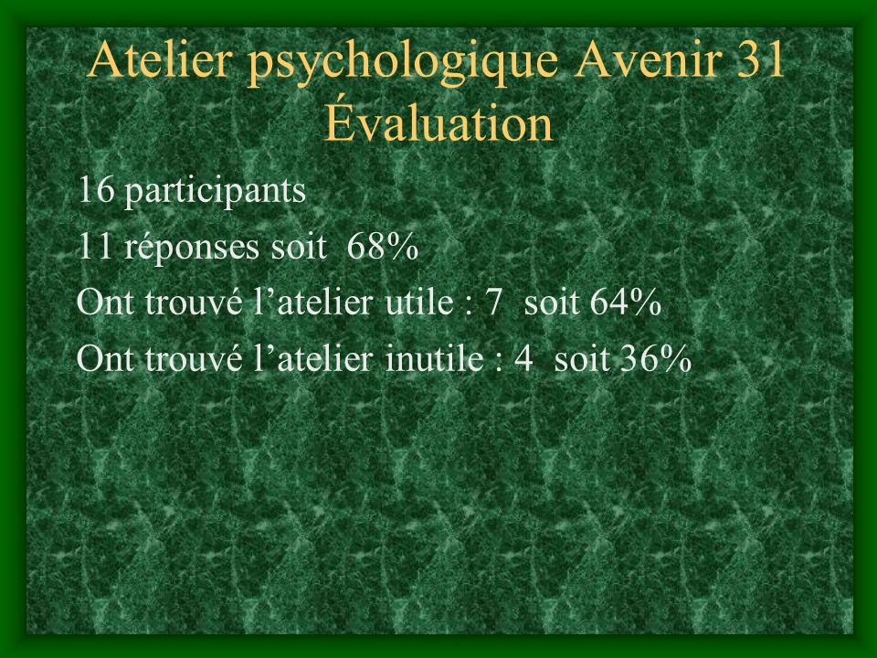 Atelier psychologique Avenir 31 Évaluation