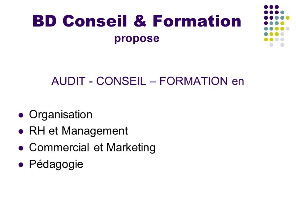 BD Conseil & Formation propose
