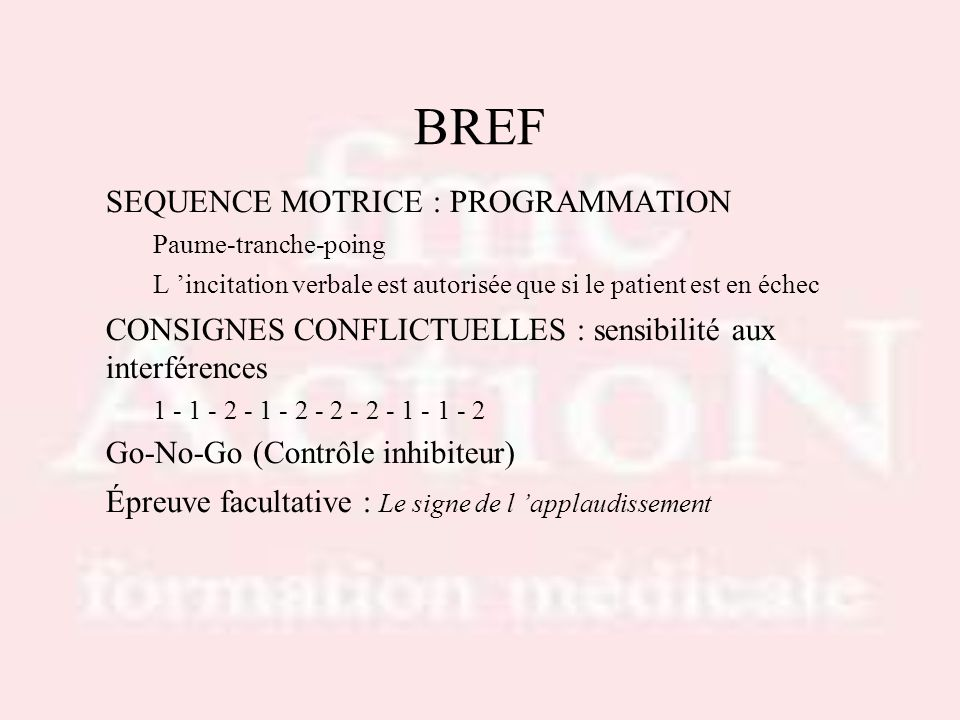 BREF SEQUENCE MOTRICE : PROGRAMMATION