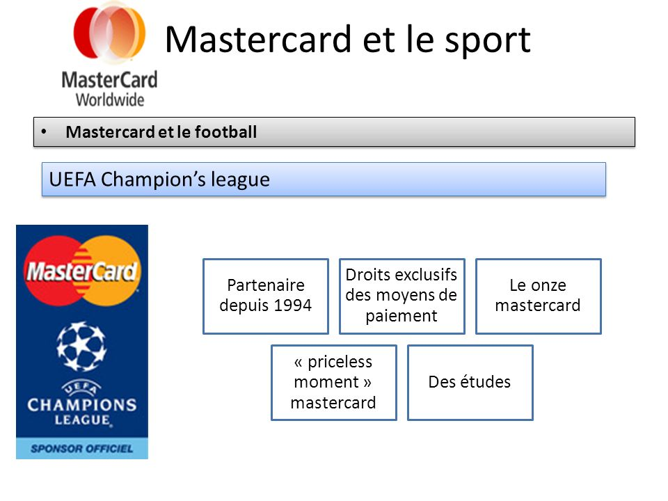 Mastercard et le sport UEFA Champion's league