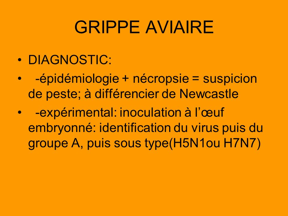 GRIPPE AVIAIRE DIAGNOSTIC: