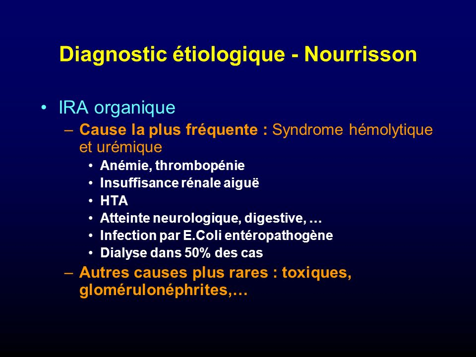 Diagnostic étiologique - Nourrisson