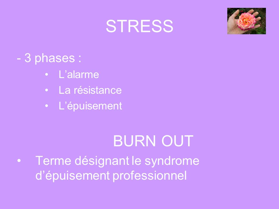 STRESS BURN OUT - 3 phases :