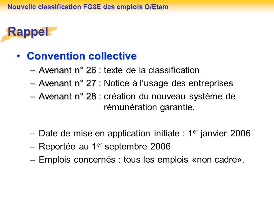 Rappel Convention collective