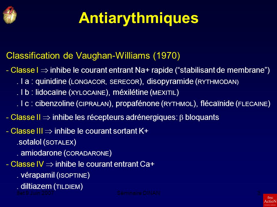 Antiarythmiques Classification de Vaughan-Williams (1970)