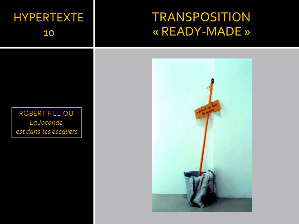 TRANSPOSITION « READY-MADE » HYPERTEXTE 10 ROBERT FILLIOU La Joconde