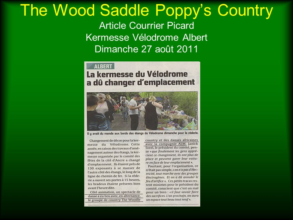 The Wood Saddle Poppy's Country Article Courrier Picard Kermesse Vélodrome Albert Dimanche 27 août 2011