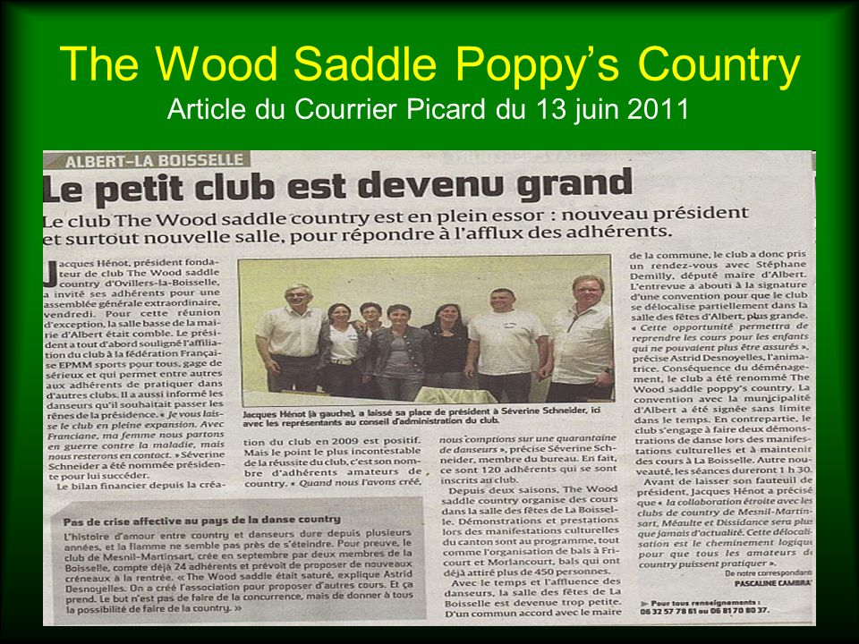 The Wood Saddle Poppy's Country Article du Courrier Picard du 13 juin 2011