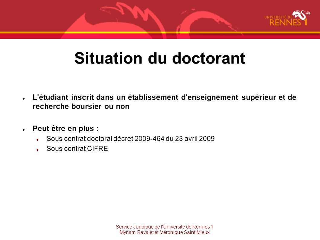 Situation du doctorant
