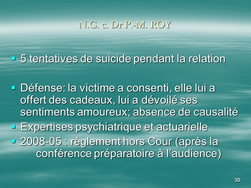 5 tentatives de suicide pendant la relation