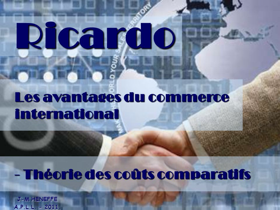 Ricardo Les avantages du commerce international