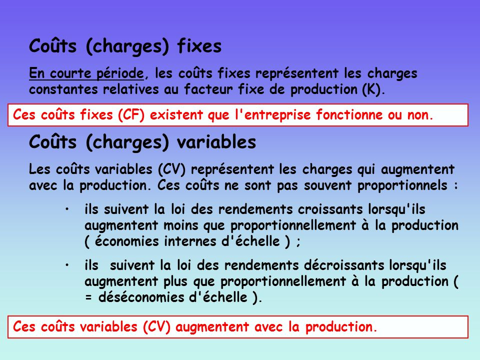 Coûts (charges) variables