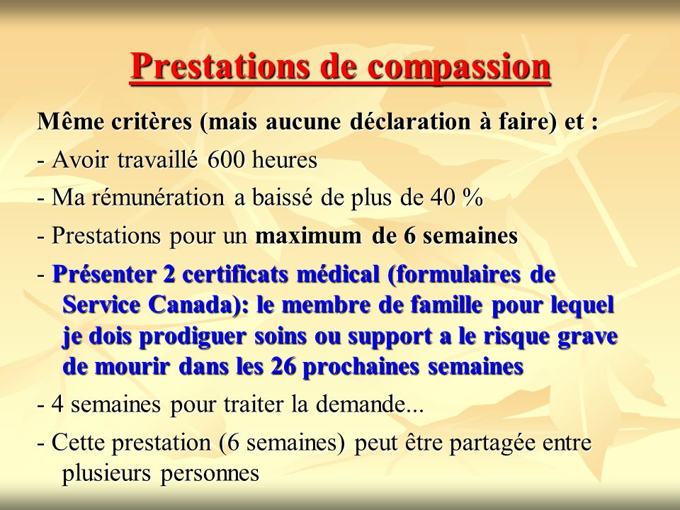 Prestations de compassion
