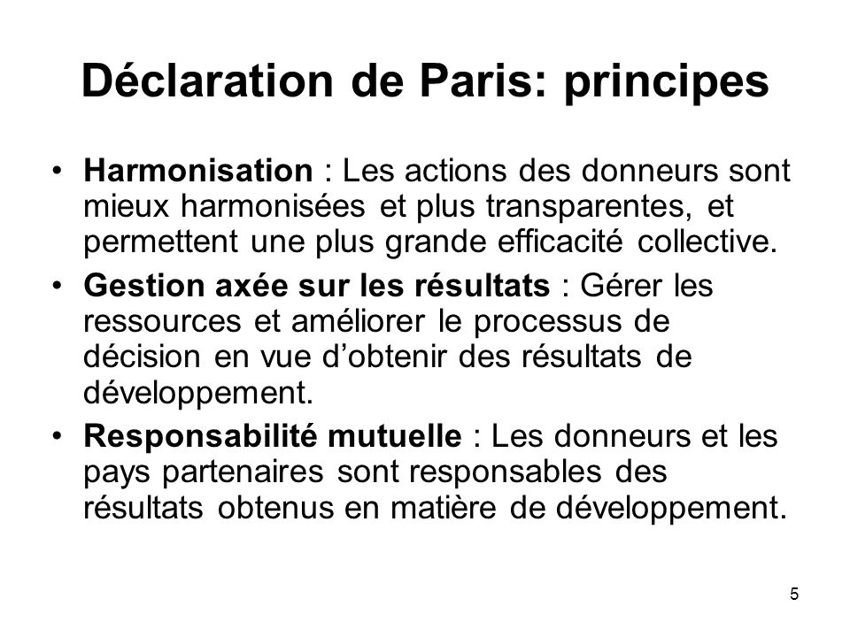 Déclaration de Paris: principes