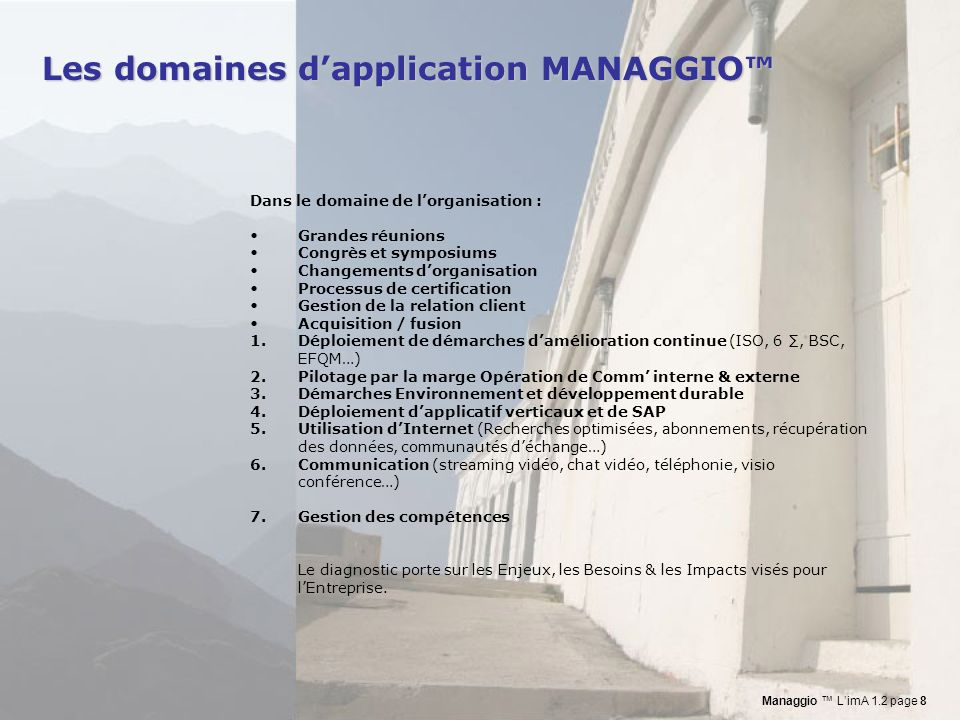 Les domaines d'application MANAGGIO™