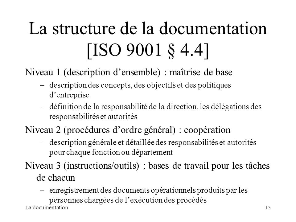 La structure de la documentation [ISO 9001 § 4.4]