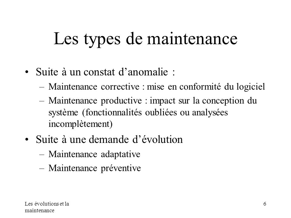Les types de maintenance