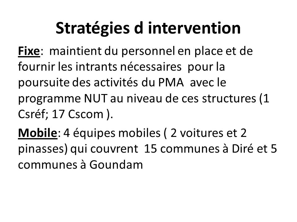 Stratégies d intervention