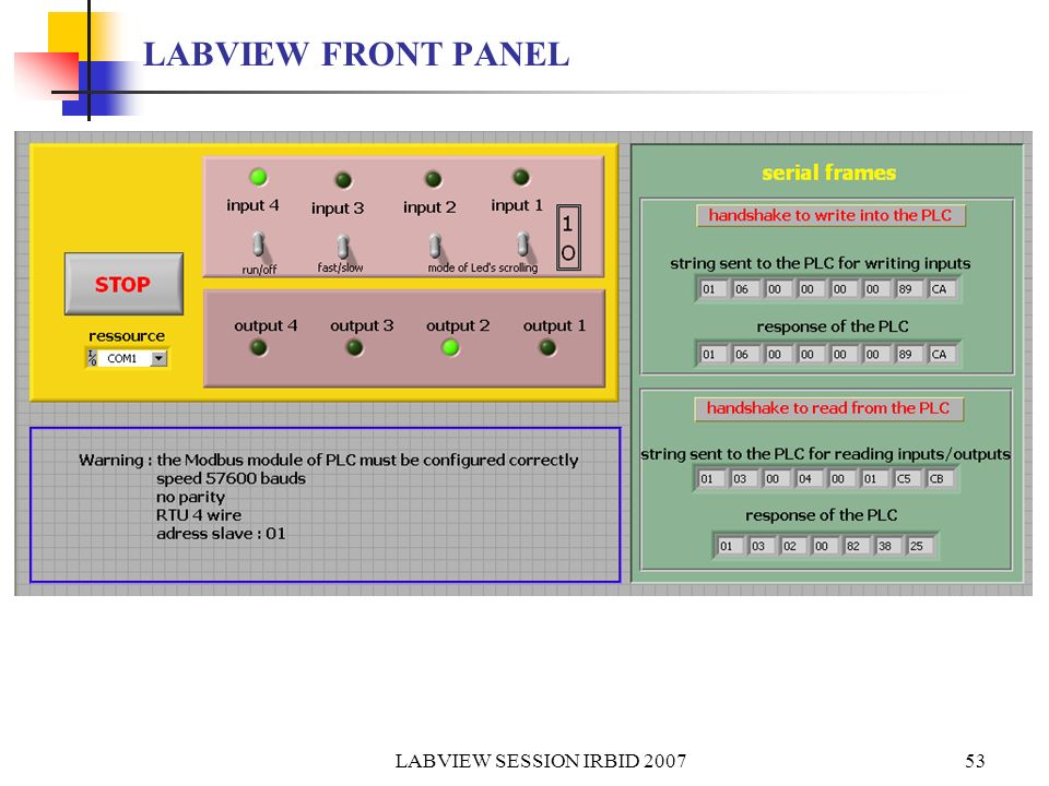LABVIEW FRONT PANEL LABVIEW SESSION IRBID 2007