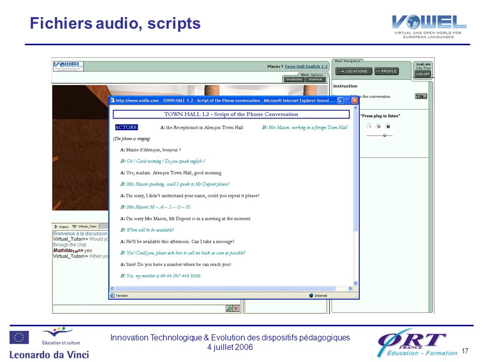 Fichiers audio, scripts