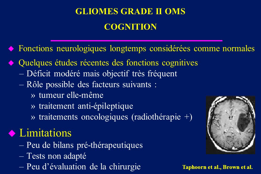 GLIOMES GRADE II OMS COGNITION