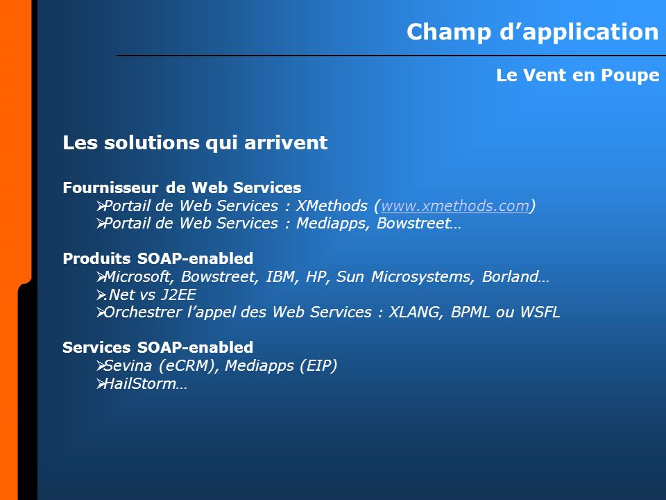 Champ d'application Les solutions qui arrivent Le Vent en Poupe