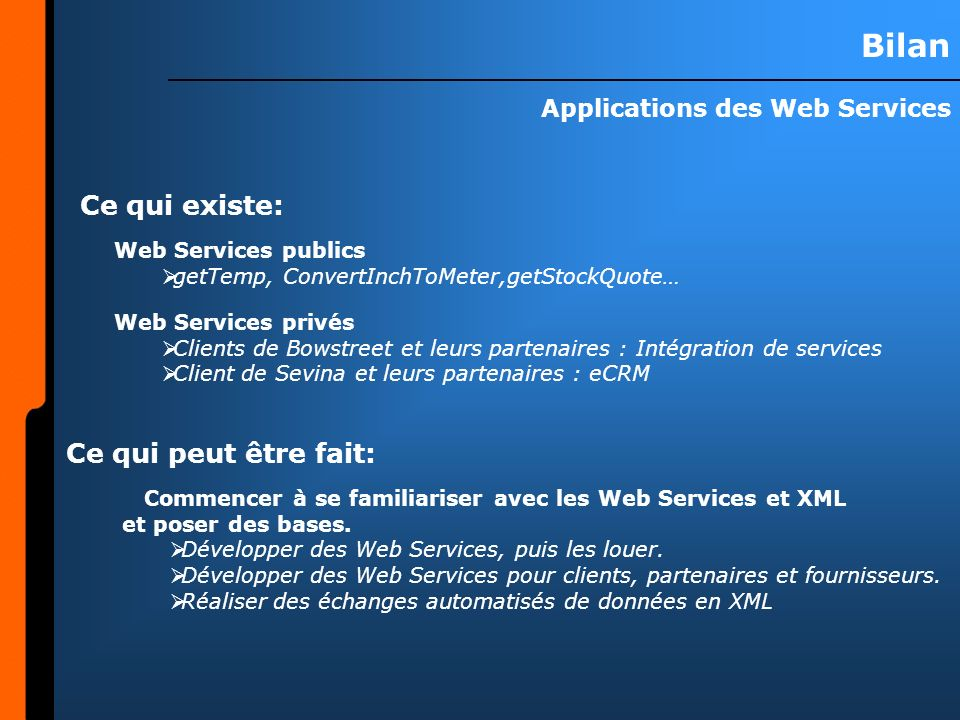Applications des Web Services