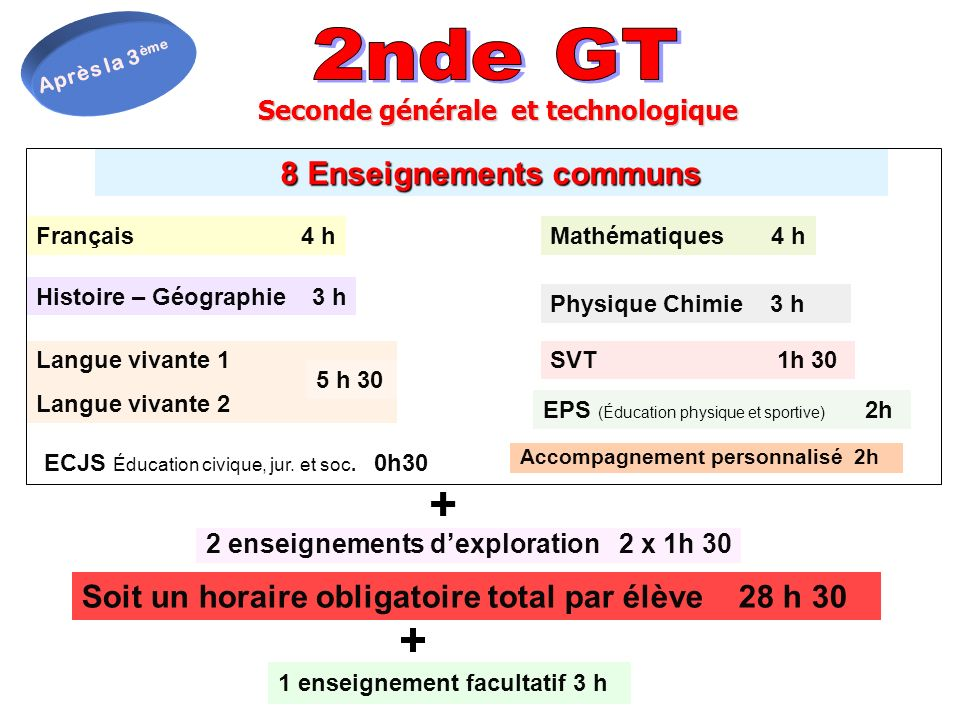 + + 2nde GT 8 Enseignements communs
