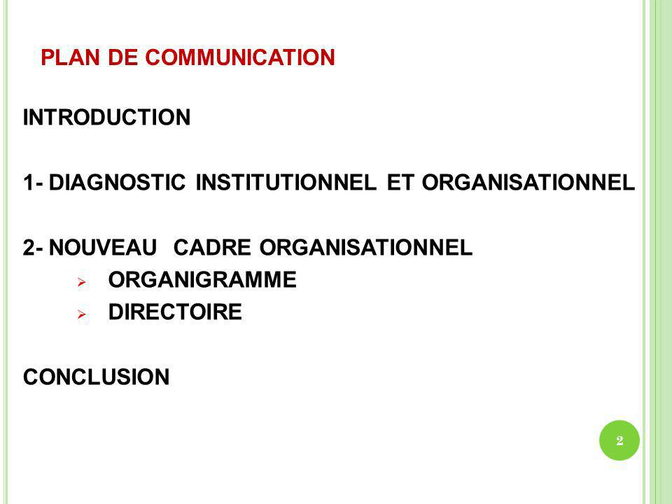 PLAN DE COMMUNICATION INTRODUCTION. 1- DIAGNOSTIC INSTITUTIONNEL ET ORGANISATIONNEL. 2- NOUVEAU CADRE ORGANISATIONNEL.