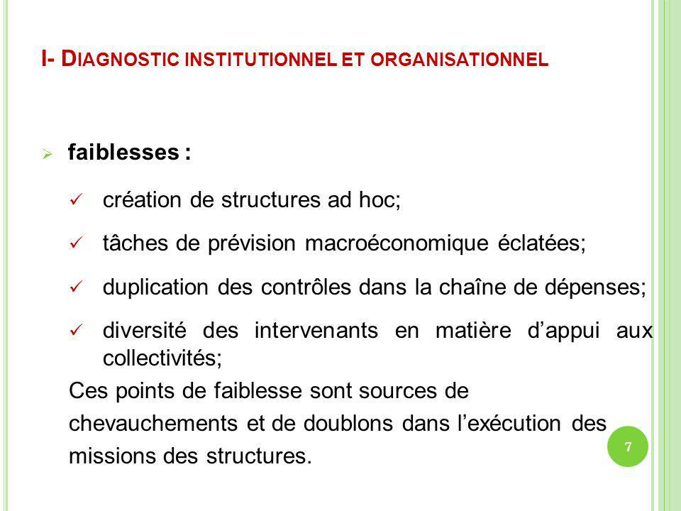I- Diagnostic institutionnel et organisationnel