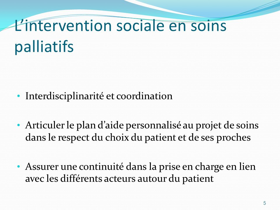 L'intervention sociale en soins palliatifs
