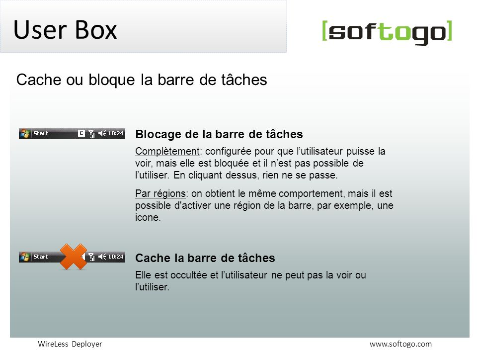 User Box Cache ou bloque la barre de tâches