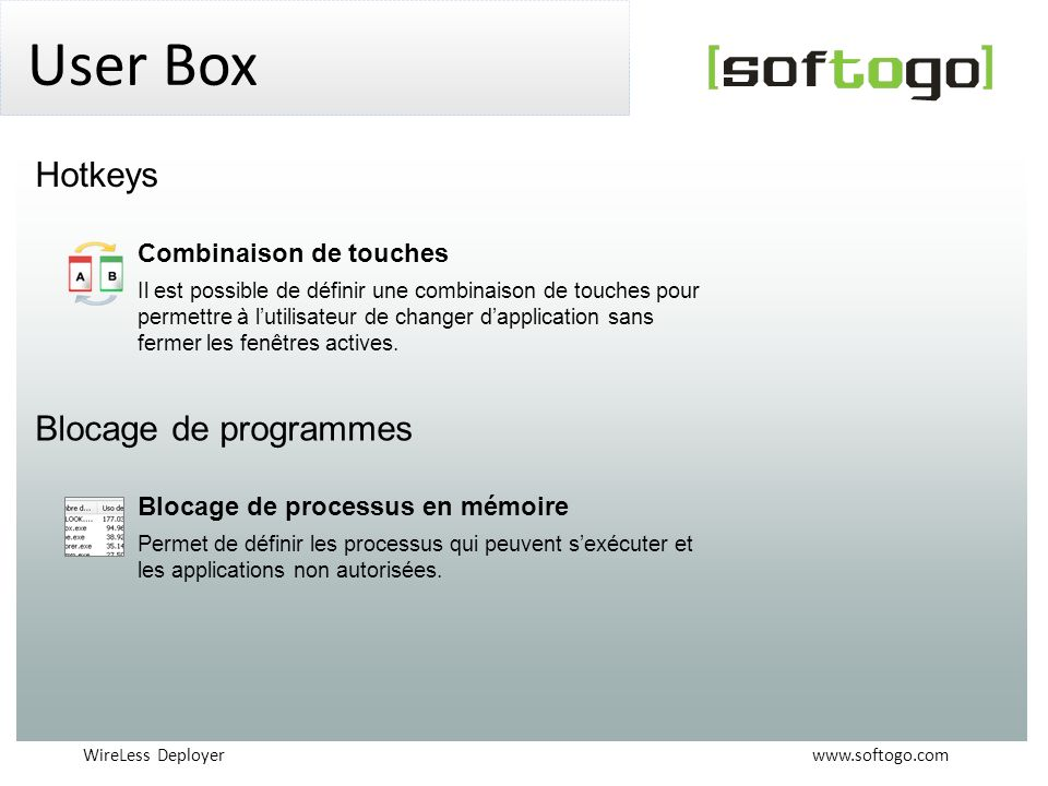 User Box Hotkeys Blocage de programmes Combinaison de touches