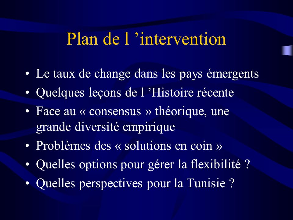 Plan de l 'intervention