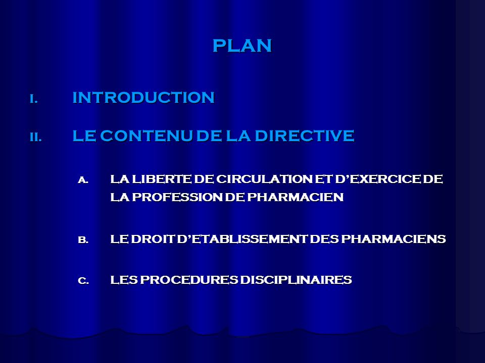PLAN INTRODUCTION LE CONTENU DE LA DIRECTIVE