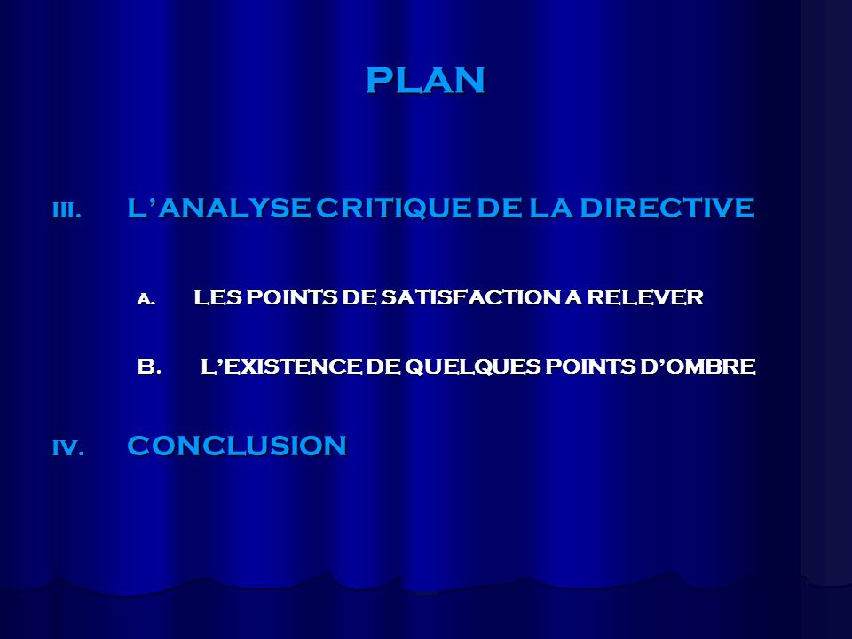PLAN L'ANALYSE CRITIQUE DE LA DIRECTIVE