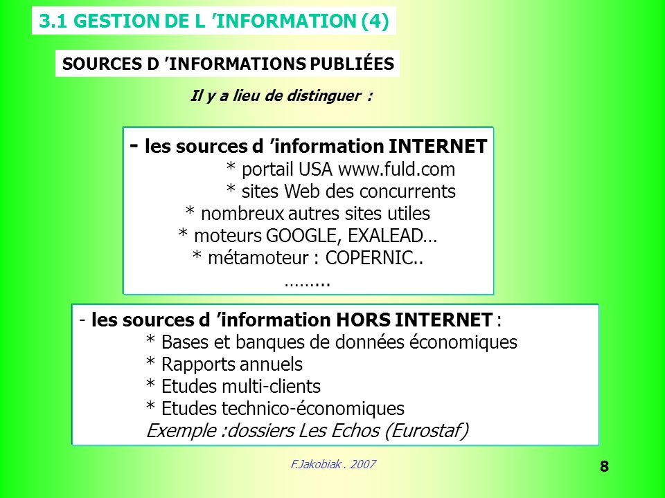 - les sources d 'information INTERNET