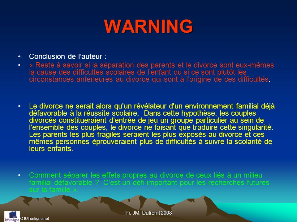 WARNING Conclusion de l'auteur :