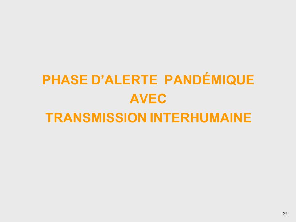 PHASE D'ALERTE PANDÉMIQUE TRANSMISSION INTERHUMAINE