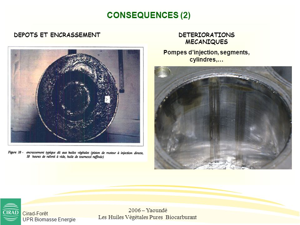 DETERIORATIONS MECANIQUES Pompes d'injection, segments, cylindres,…