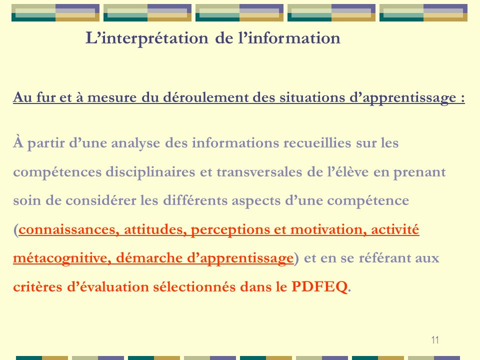 L'interprétation de l'information