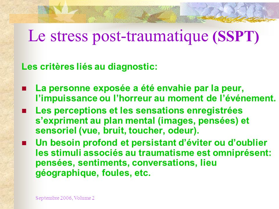 Le stress post-traumatique (SSPT)