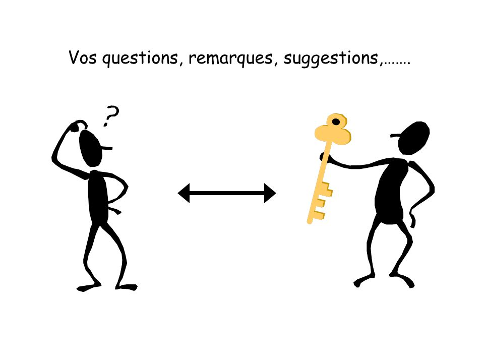 Vos questions, remarques, suggestions,…….