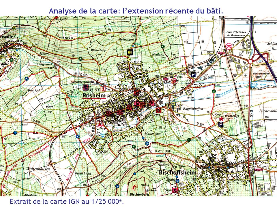 Analyse de la carte: l'extension récente du bâti.