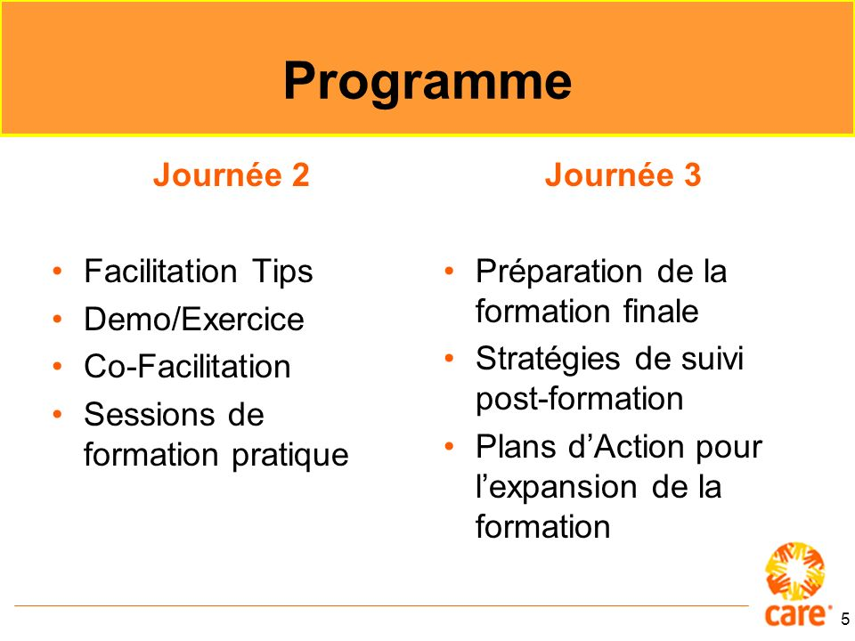 Programme Journée 2 Facilitation Tips Demo/Exercice Co-Facilitation