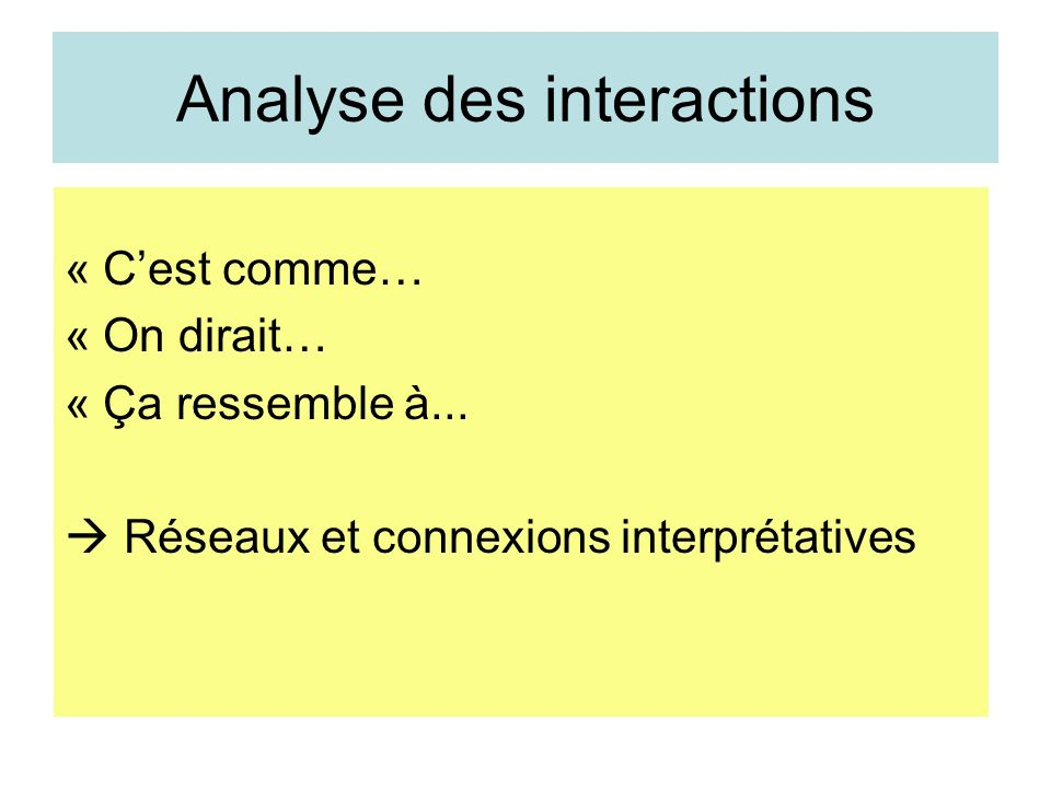 Analyse des interactions