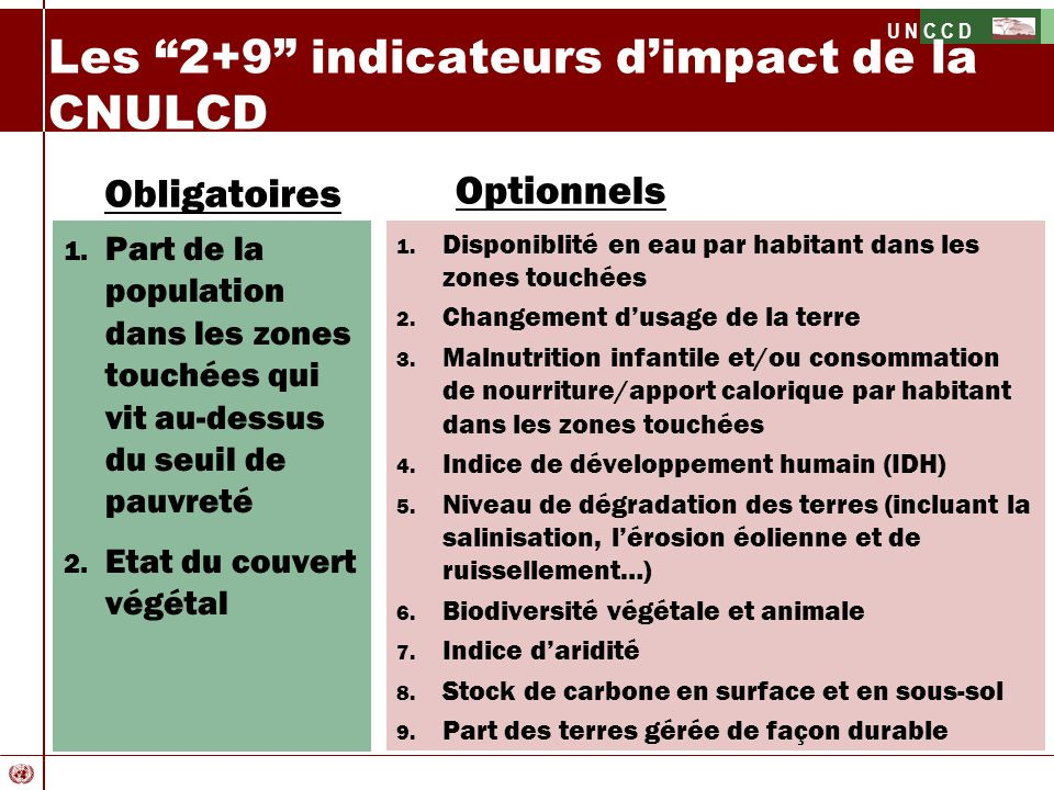 Les 2+9 indicateurs d'impact de la CNULCD