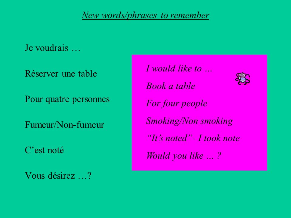 New words/phrases to remember